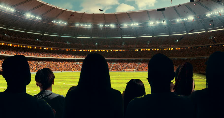 Fans celebrating the success of their favorite sports team and waving hands on the stands of the professional stadium. Stadium is made in 3D and animated. #1012309901