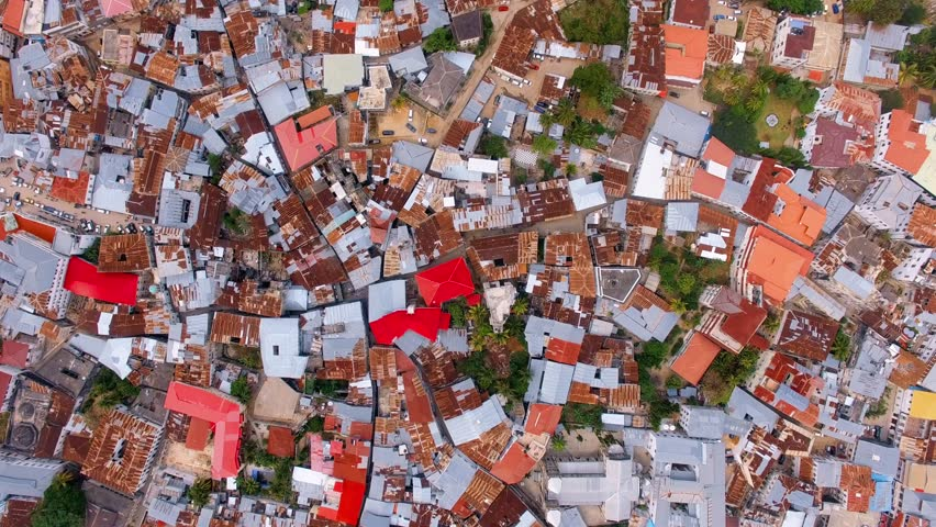 aerial view of the stone town