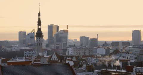 Tallinn, Estonia, Europe. Cityscape In Morning Sunrise. Old Town And Modern City. Popular Place With Famous Landmarks. UNESCO