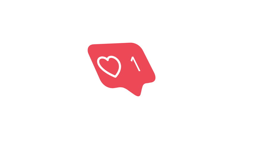 4K social media red heart counter, pivoting to show likes over time on a white background with alpha matte