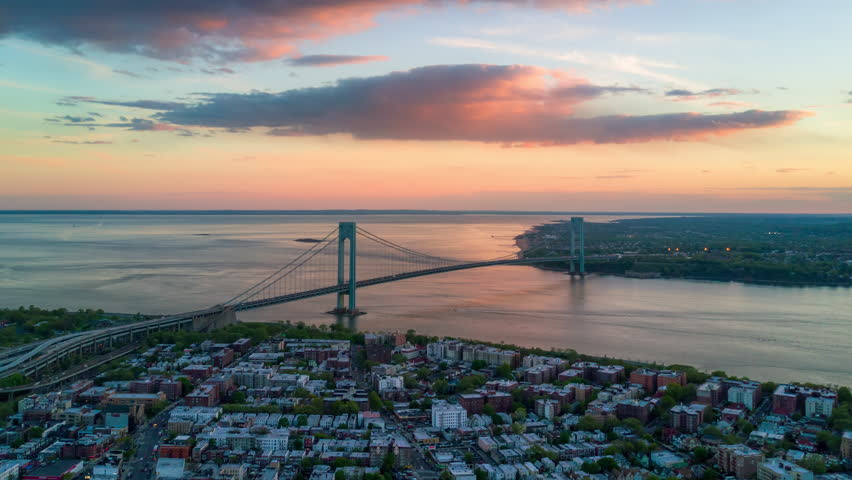 Aerial view of Verrazano bidge and overpass in Brooklyn, New York City. Timelapse dronelapse. NY from above. | Shutterstock HD Video #1012402301