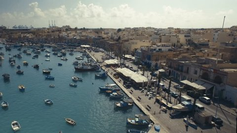 Aerial shot over a fish Market in Marsaxlokk Malta