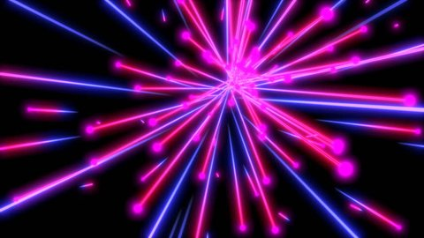 Neon pink and blue particles animation. Seamless retro futuristic background.