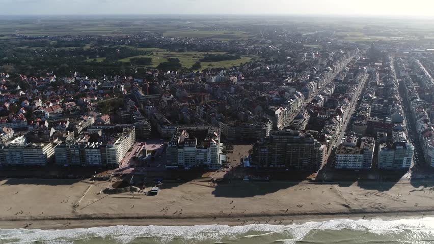 Aerial footage Knokke-Heist city in Belgian province of West Flanders it is located along North Sea on Belgian border with the Netherlands and is Belgiums best-known and most affluent seaside resort