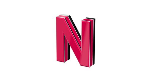 Red pink letter N - volumetric glossy metal letter on white background and  chroma key background 3D animation