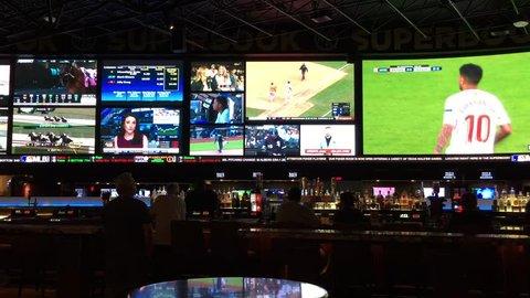 APRIL 12, 2018 - LAS VEGAS: Interior of sports book gambling. Supreme Court made decision striking down federal law prohibiting sports gambling.
