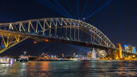Sydney Harbour Bridge during Vivid Sydney Festival - timelapse video of the Spectacular light show and reflection around the Sydney Harbour Bridge and CBD of Sydney