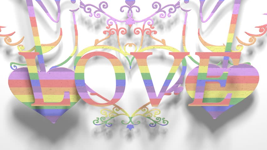 Love Gay Pride LGBT Community Mardi Gras paper cutout title 3D render