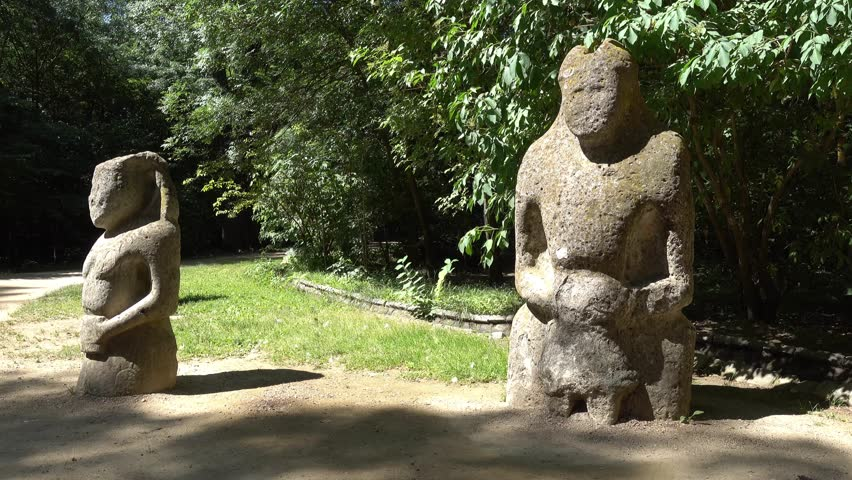 Kherson region, Ukraine - 3d of June 2018: 4K Tour to the  Askania-Nova reserve - Ancient stone sculptures in the national park  #1012549811
