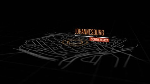 Locations Johannesburg, South Africa. Animation of marking a point in Johannesburg, South Africa. Location of the city, large shopping center. Video in 4K with resolution of 3840x2160.