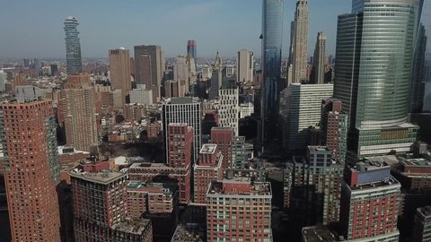 Beautiful New York City down town aerial helicopter shot