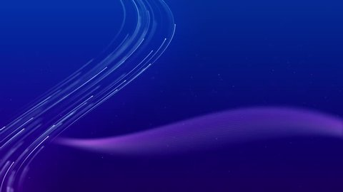 Abstract background with animation moving of lines for fiber optic network. Magic flickering dots or glowing flying lines. Animation of seamless loop..background and texture animation