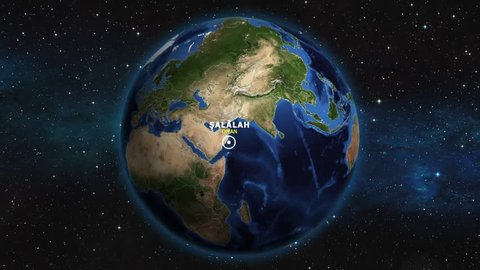 OMAN SALALAH ZOOM IN FROM SPACE