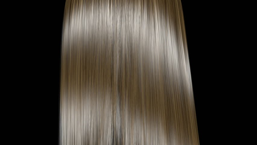 Blond hair fluttering in the wind, isolated on black background. Slow motion. Seamless looping. Three-dimensional render. | Shutterstock HD Video #1012765571