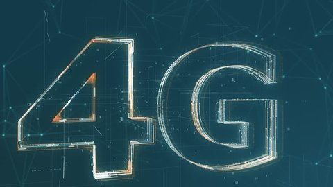 text 4G made with particles, abstract background, concept of high speed internet mobile network (3d render)