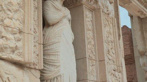 Ancient sculpture in Efes ancient Greek city in present day Izmir, Turkey. 4k