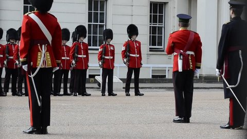 Buckingham palace, London, United Kingdom, June 2018. The ceremonial in preparation for changing the guard, the guards remain stationary and move only on the orders of the superiors.