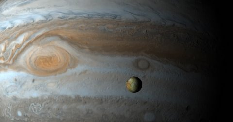 Jupiter planet and Io moon in the outer space
