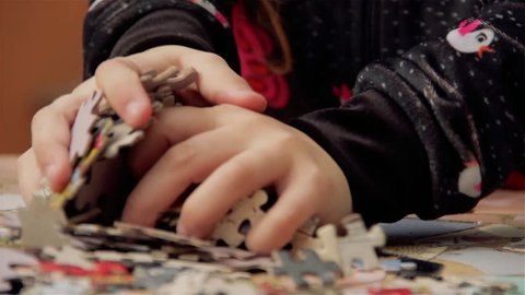 Young Girl Playing With Puzzle.