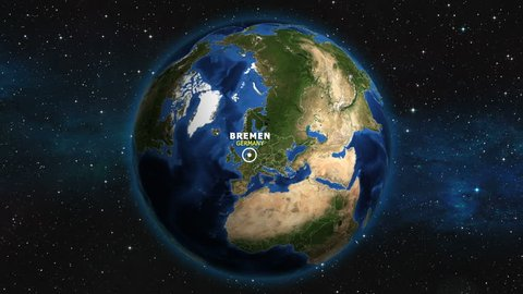 GERMANY BREMEN ZOOM IN FROM SPACE