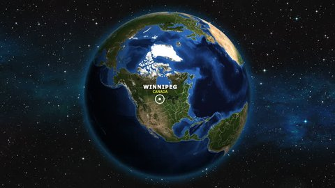 CANADA WINNIPEG ZOOM IN FROM SPACE