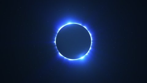 Glowing Bright Twin Flared Blue Solar Eclipse with Light Rays over Starry Sky Loop