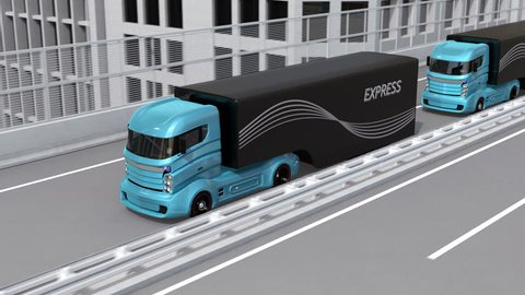 Autonomous electric trucks and VTOL drones platooning on highway. Concept for fast delivery service. 3D rendering animation.