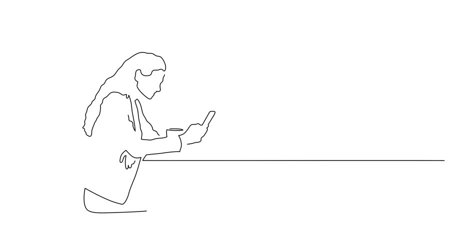 Woman using a smartphone line drawing, animated illustration design. People collection.