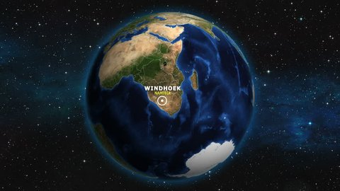 NAMIBIA WINDHOEK ZOOM IN FROM SPACE