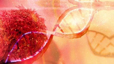 DNA strand and Cancer Cell Oncology Research Concept with protein particles Cancer Immunotherapy treatment concept DNA gene therapy 3D rendering