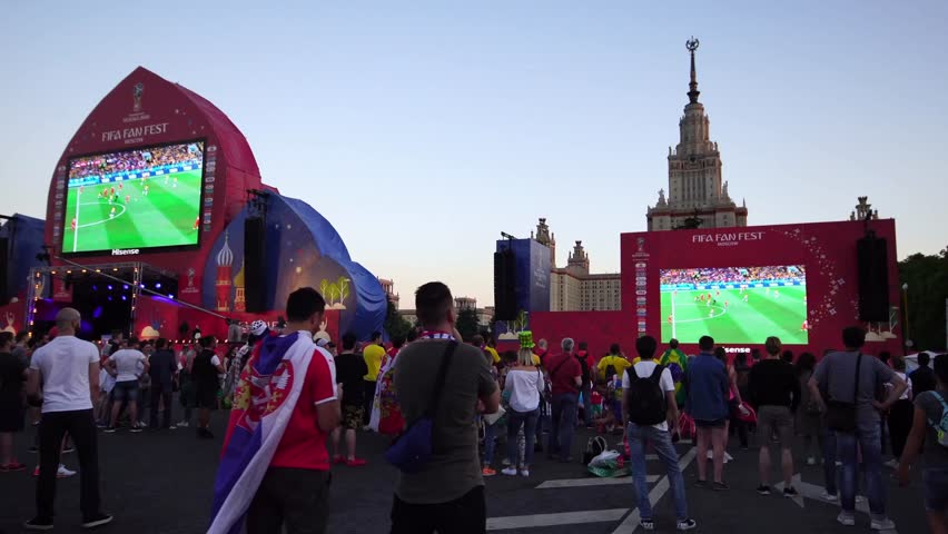 MOSCOW, RUSSIA - JUNE 27, 2018 : FIFA fan fest in Moscow Russia during 2018 FIFA World Cup during Brazil soccer game. FIFA FAN FEST at Sparrow Hills attracted thousands of fans.
