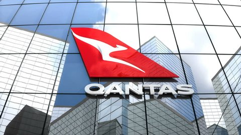 May 2018, Editorial use only, 3D animation, Qantas Airways logo on glass building.