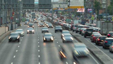 Huge Car Traffic on a City Highway Timelapse Motion