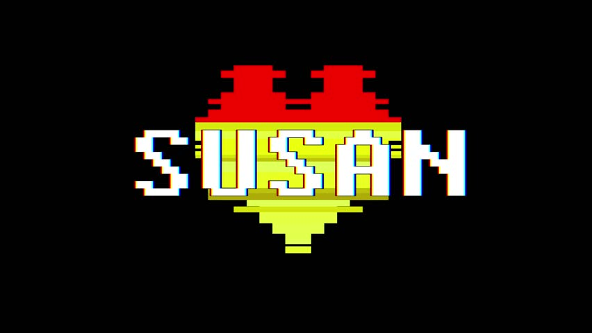 pixel heart SUSAN word text glitch interference screen seamless loop animation background new dynamic retro vintage joyful colorful video footage #1013080511