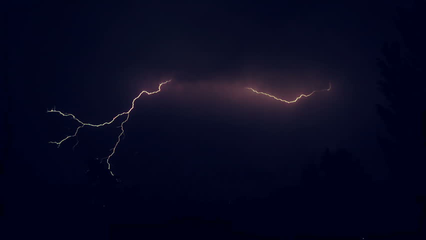 Night sky with lightning and storm clouds  | Shutterstock HD Video #1013103221