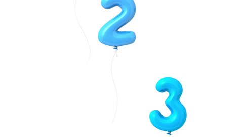 A count from one to three, numbers in form flying glossy blue air balloons. Animation of 3D items isolated on white background. Smart and easy mood. Start concept.