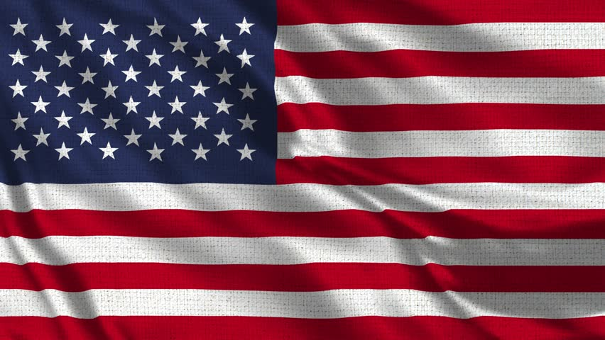 USA Flag Loop - Realistic 4K - 60 fps flag of the USA waving in the wind. Seamless loop with highly detailed fabric texture. Loop ready in 4k resolution.