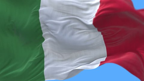 4k seamless Close up of Italy flag slow waving with visible wrinkles.A fully digital rendering,The animation loops at 20 seconds.flag 3D animation with alpha channel included. cg_06298_4k