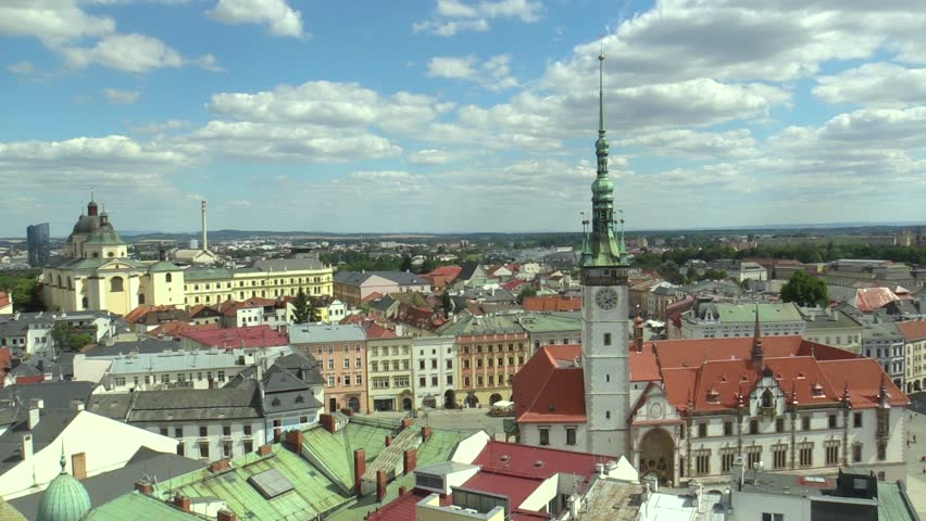 Historical city of Olomouc, city town hall Olomouc Gothic building, view panorama aerial from the tower