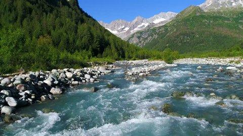 Mountain river, alpine valley