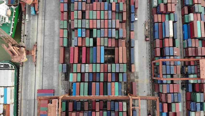 4k drone footage of shipping containers in Guangzhou cargo port #1013225951