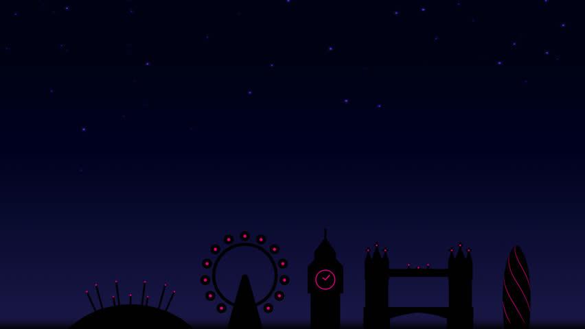 Animated fireworks display over London nightime skyline