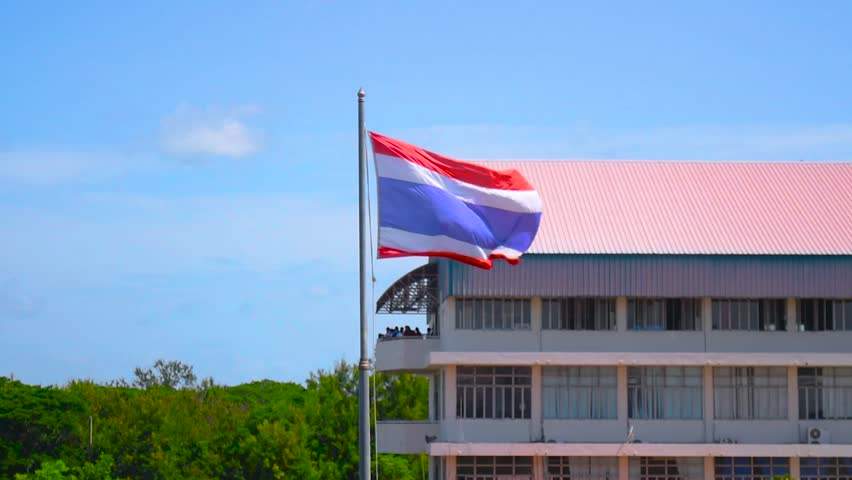 Thai national flag National flag of Thailand    Thailand flag on a backdrop of the sky and trees,