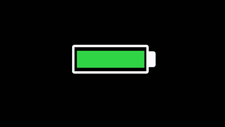 Battery draining from green to red animation on black background. Illustration of battery icon becoming empty , flashing and powering out. No power concept of technology battery supply dying.