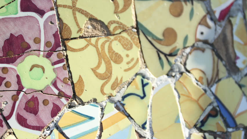 Abstract montage made from images of ceramic tiles in Antoni Gaudí's Park Güell, barcelona, spain | Shutterstock HD Video #1013341