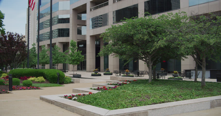 day Small move up then down establish entrance nice ND government office building We see hint US flag (St. Louis,6/1/18)