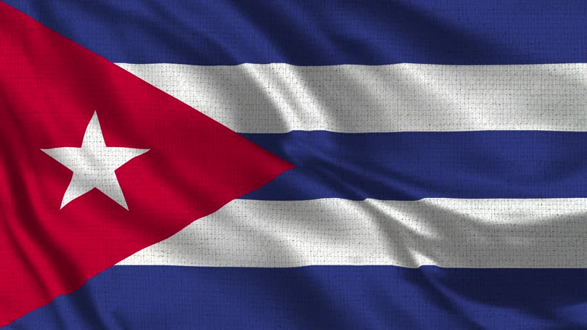 Cuba Flag Loop - Realistic 4K 60 fps flag of the Cuba waving in the wind. Seamless loop with highly detailed fabric texture. Loop ready in 4k resolution.