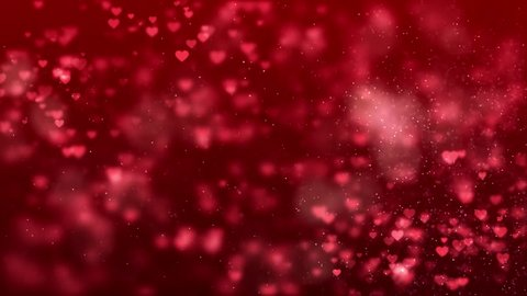 Valentine's day background with hearts - seamless loop.shining heart shapes loopable love background