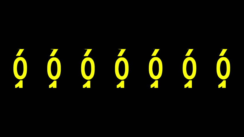 Yellow numbers of the counter on black background displays one million, 3d animation. | Shutterstock HD Video #1013431931