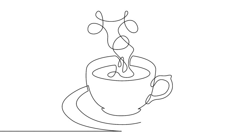 Self drawing animation of continuous one single line drawing of isolated vector object cup of coffee